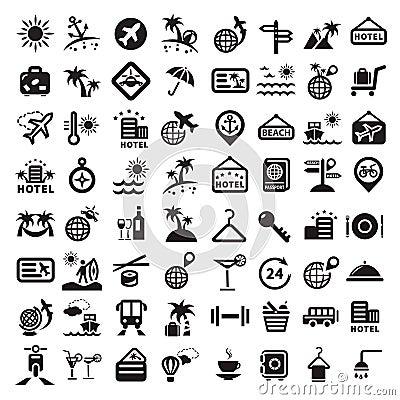 Big travel icons set