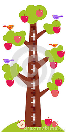 Free Big Tree With Green Leaves Birds And Red Apples On White Background Children Height Meter Wall Sticker, Kids Measure. Vector Royalty Free Stock Photos - 56930938