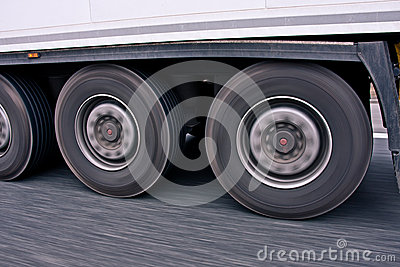 Big truck wheels in motion