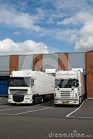 Free Big Trucks At Loading Dock Stock Image - 6360811