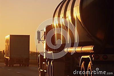 Big trucks driving