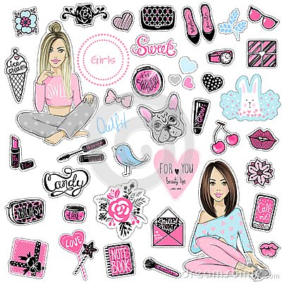 Free Big Vector Kit Of Fashion Patches. Set With Glamour Elements. Cu Royalty Free Stock Image - 108313726