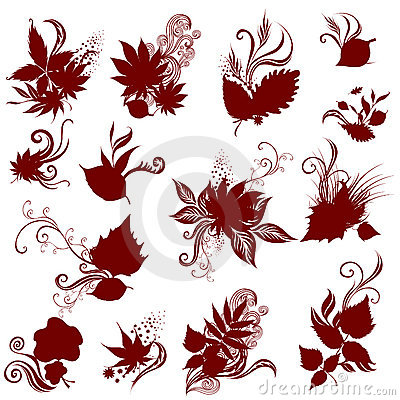 Big Vector set of autumn leafs. Thanksgiving