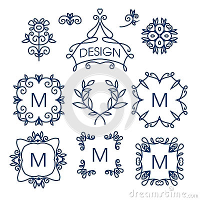 Free Big Vector Set Of Line Floral Design Elements For Logos, Frames And Borders Royalty Free Stock Photo - 71597595