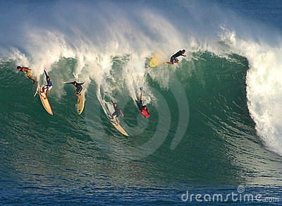 Big Wave Surfing in Hawaii Editorial Photography