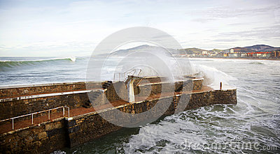 Big waves at Zarautz port