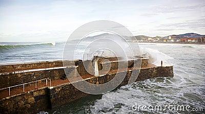 Big waves at Zarautz port