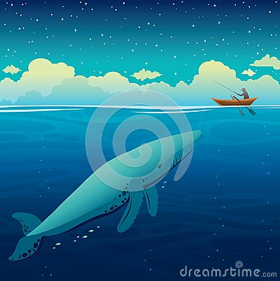 Free Big Whale, Fisherman And Boat, Night Sky, Calm Sea. Royalty Free Stock Photo - 103521825