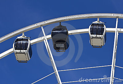 Big Ferris wheel against blue sky