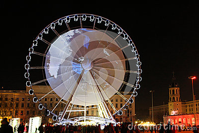 Big Wheel in Bellecour Editorial Stock Photo