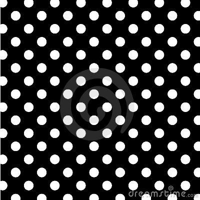 Big White Polka Dots on Black, Seamless