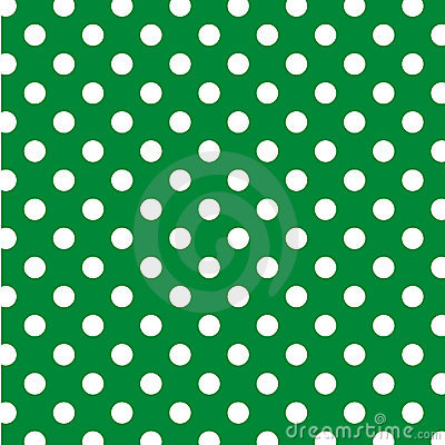 Big White Polka Dots on Green, Seamless