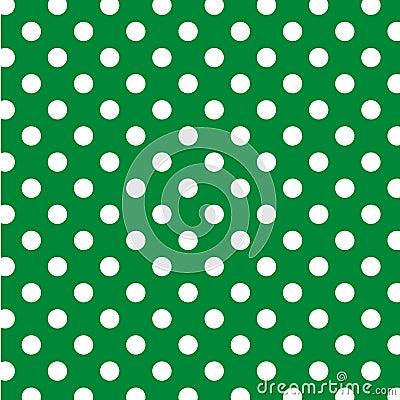 Big White Polka Dots on Green, Seamless
