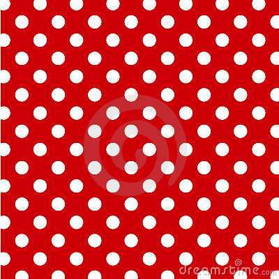 Big White Polka Dots, Red Seamless Background