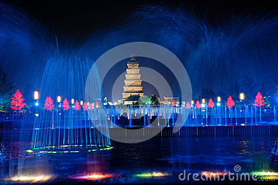 Big Wild Goose Pagoda in Xian Editorial Photo