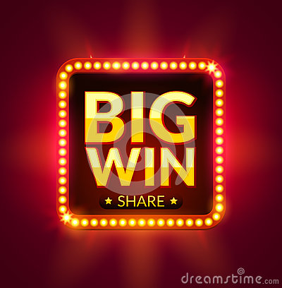 Free Big Win Glowing Banner For Online Casino, Slot, Card Games, Poker Or Roulette. Jackpot Prize Design Background. Winner Sign Stock Photos - 82870433
