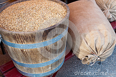Grains in barrel and sacks