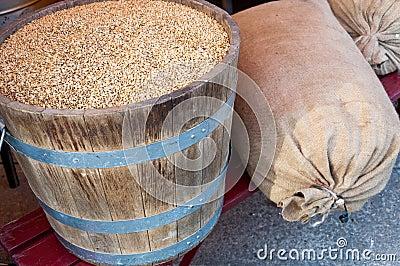Grains in barrel and sacks