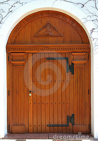 Big wooden door of a church
