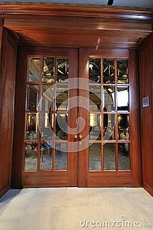 Big Wooden Door In Restaurant Stock Photography Image