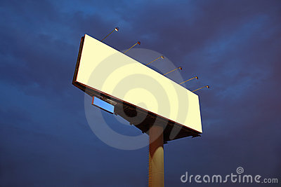 Big yellow billboard at night
