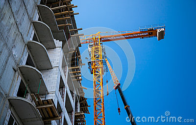Big yellow building crane