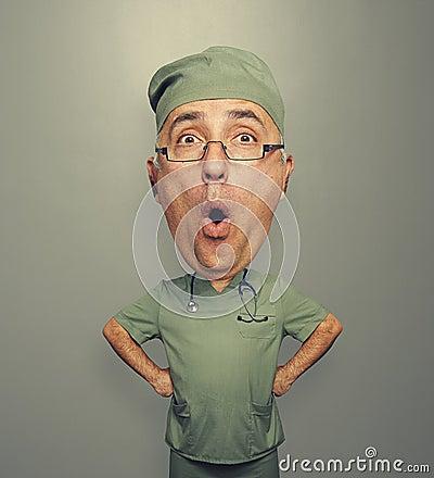 Bighead amazed doctor in glasses
