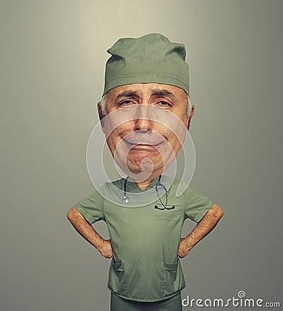 Bighead sorrowful doctor in uniform