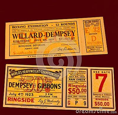 Biglietti di lotta di dempsey del Jack Fotografia Editoriale