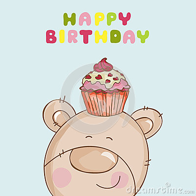 Biglietto di auguri per il compleanno felice - orso del bambino con il