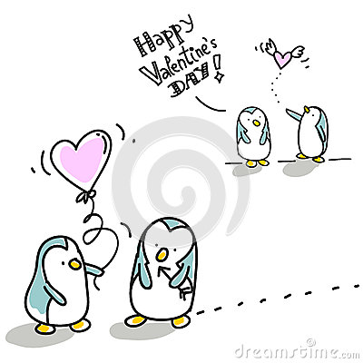 Biglietto di S. Valentino dei pinguini