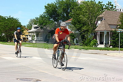 Bike Across Kansas Participants Entering Town Editorial Image
