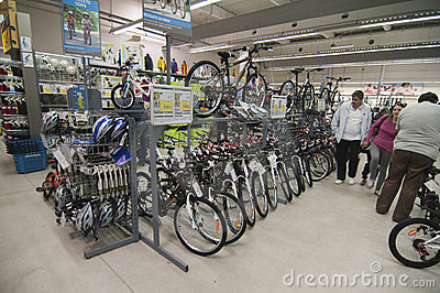 Bike area in Decathlon store Editorial Photo