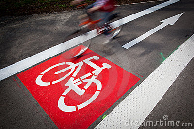 Bike/cycling lane sign in a city