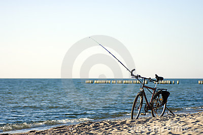 Bike and fishing rod