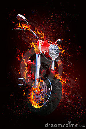 Bike in flames
