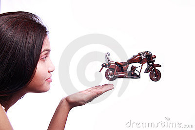 Bike Jumping from womans hand