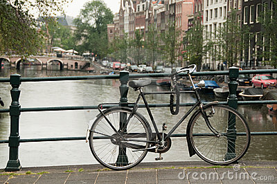 Bike parked on Amsterdam bridge