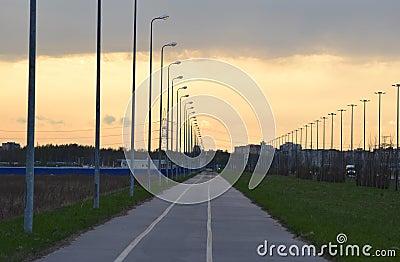 Bike path at sunset