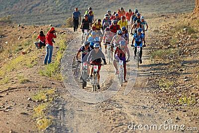Bike race start in desert Editorial Stock Image