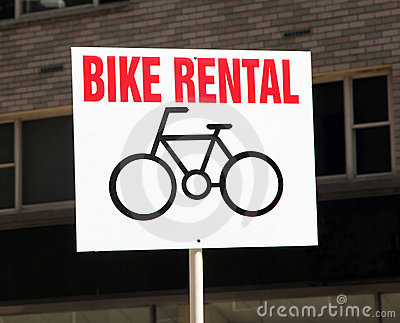 Bike Rental Sign.