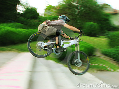 Bike rider at urban downhill competition Editorial Stock Photo
