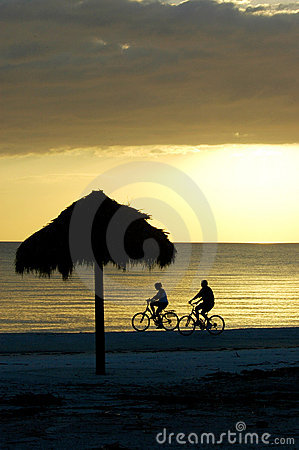 Bike riding couple on Fort Myers Beach