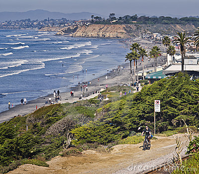 Bike Riding, Pacific Ocean California Editorial Stock Image