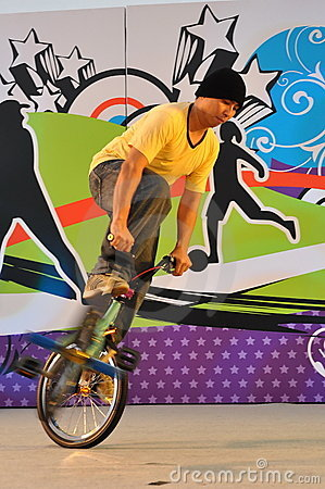 Bike stunt during Youth Olympics logo launch Editorial Photo