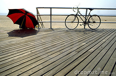 Bike,sun shade at the beach