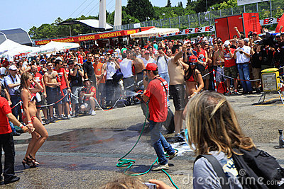 Bike washing at the World Ducati Week 2010 event Editorial Image
