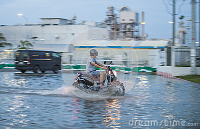 Bike in water flooding Editorial Stock Photo
