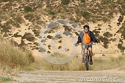 Biker in action