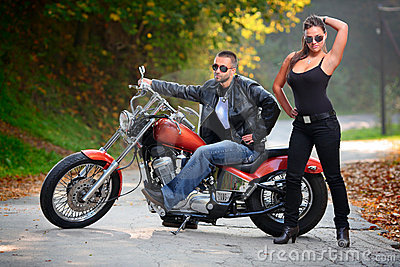 Biker and an attractive girl